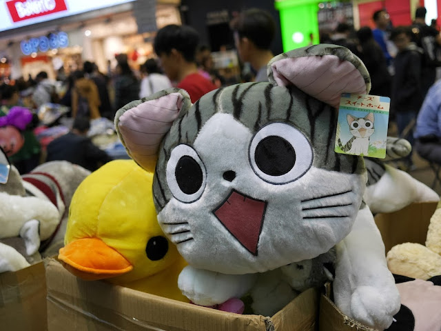 stuffed toy cat for sale at Sai Yeung Choi Street South