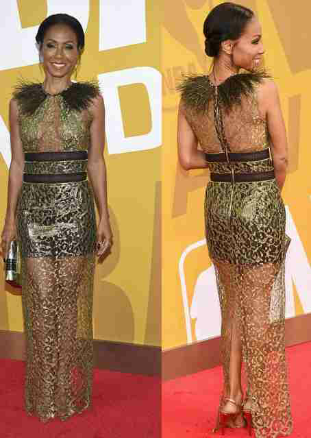 Jada Pinkett-Smith dazzles in sheer gold gown at the NBA 2017 awards