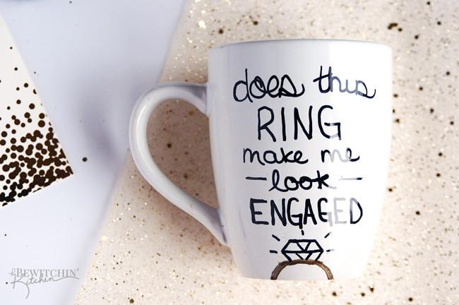 Coffee mug engaged sharpie art