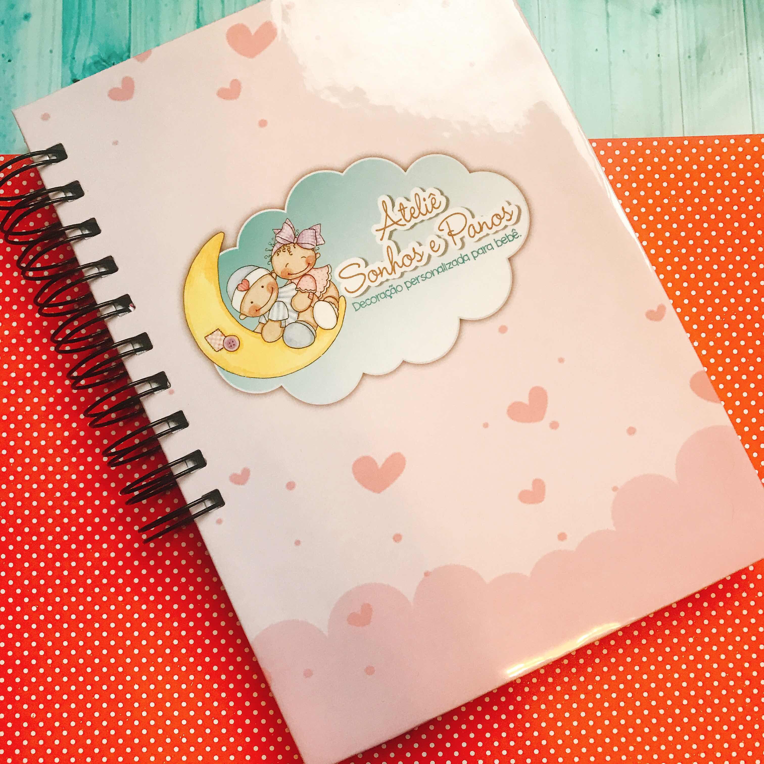 Caderno de pedidos com recibo Atelie Sonhos e Panos