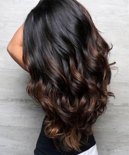 Beautiful Dark Brown Balayage Black Hair Nails C