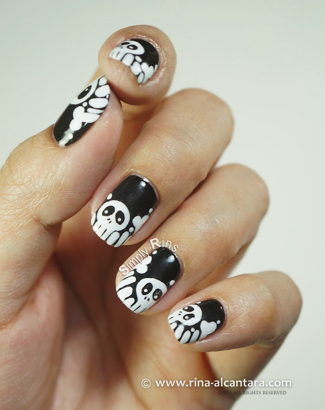 Skulls and Bones Nail Art Design by Rina Alcantara