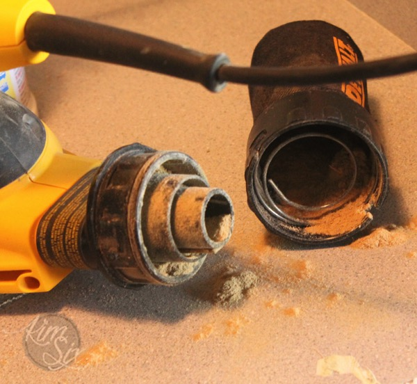 Cleaning out dust traps power tools