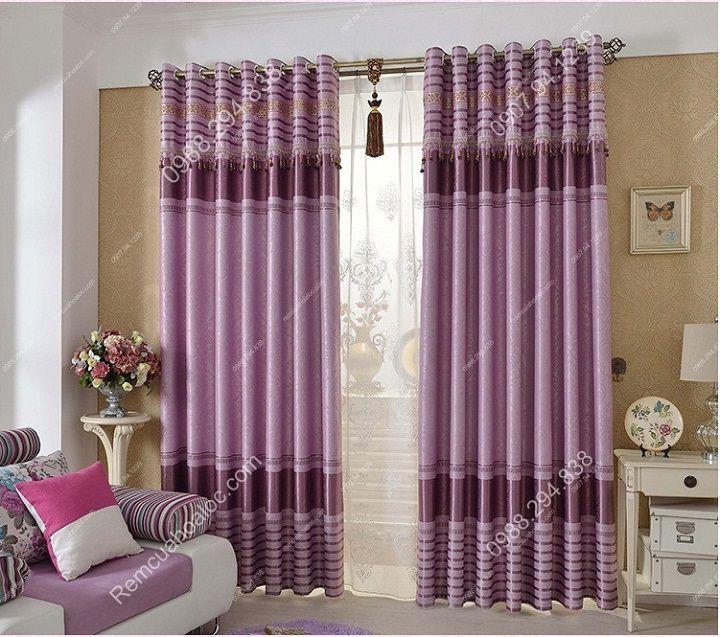 Rèm cửa cao cấp đẹp một màu tím diềm 10