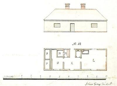 План бани Петра I, выполненный Й.Тайхертом в 1753 году