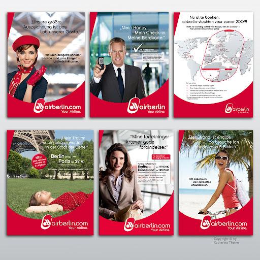 Anzeigen für verschiedene Zeitschriften (Airberlin). Copyright © by Katharina Theine