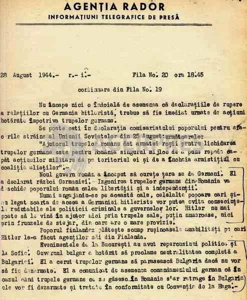 Știre RADOR din 28 august 1944