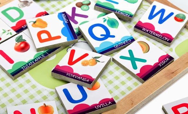 Bộ Alphabet chữ cái chủ đề hoa quả A03.2 giúp bé nhận biết về sự đa dạng của các loại hoa quả