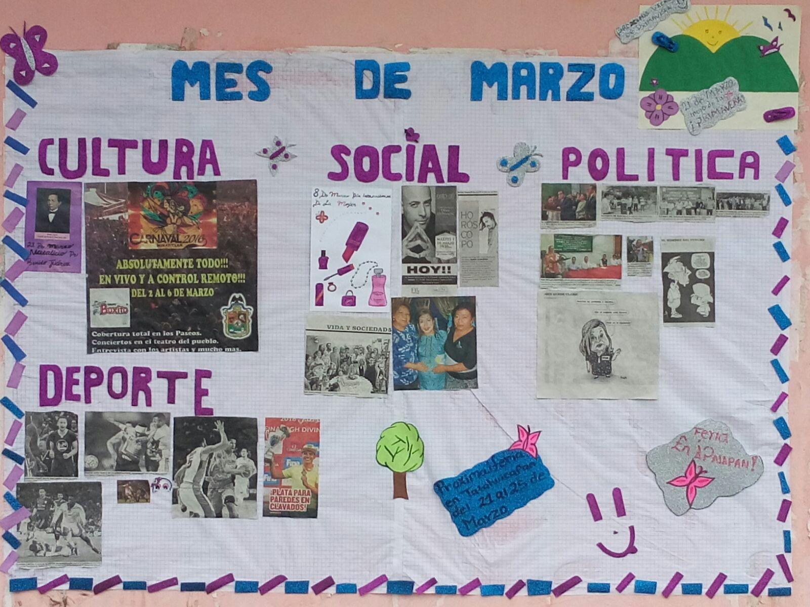 Seccional sur peri dico mural mes de marzo for Deportes para un periodico mural