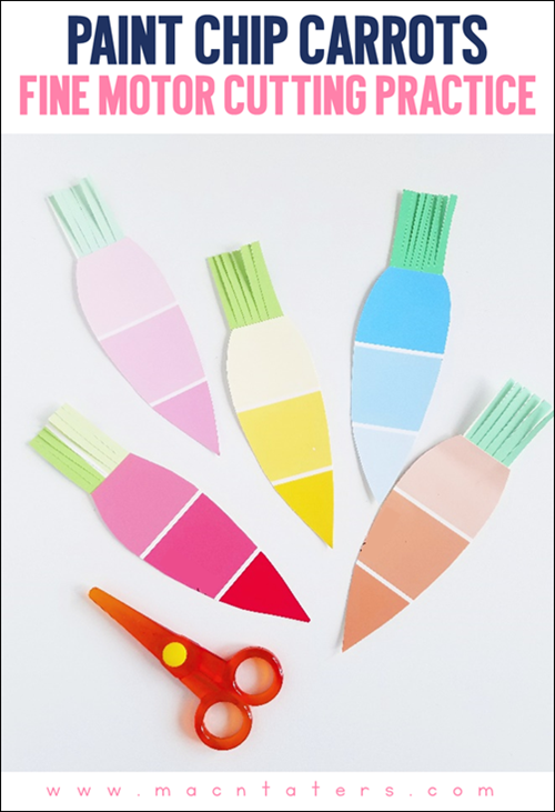 Paint Chip Carrot Fine Motor Cutting Practice