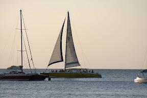 Sailboats on the Caribbean sea