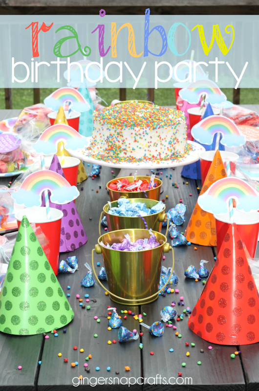 Rainbow Themed Birthday Party at GingerSnapCrafts.com #party #partyideas #birthday