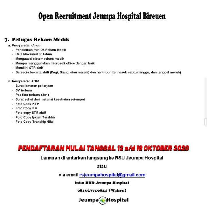 Lowongan Kerja Di Jeumpa Hospital Bireuen Infobandaaceh