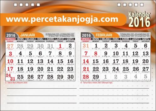 kalender meja dua bulan