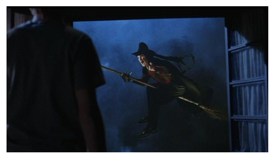 Another over the top sequence featured Freddy in a WIZARD OF OZ inspired nightmare. Try sitting on a broom for six hours while hanging from the ceiling.