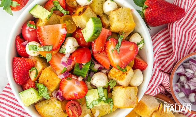 panzanella salad close up