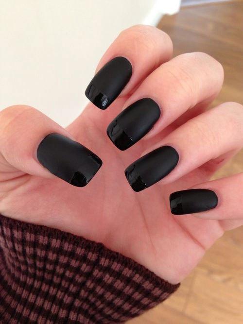 Matte Black Gel Nail Art Designs for 2017 - Styles Art
