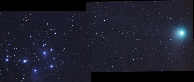 Pleiades star cluster (left) a comet is on the right