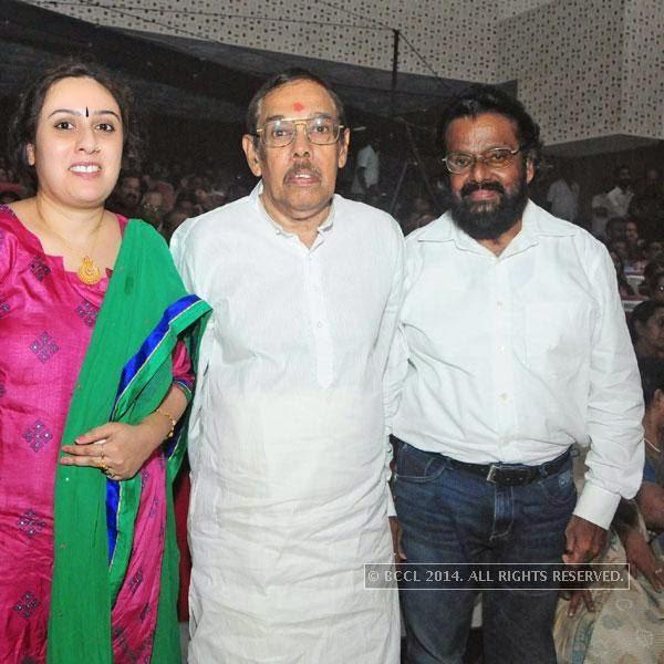 Lakshmi, Perumbavoor G Raveendranath and SN Swamy during Ghanashyama Sandhya in Trivandrum.