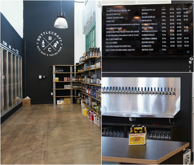 photo collage of bottle craft beer shop and tasting room