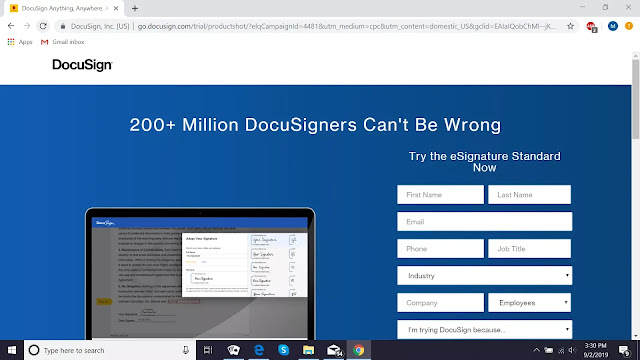 Página da web DocuSign