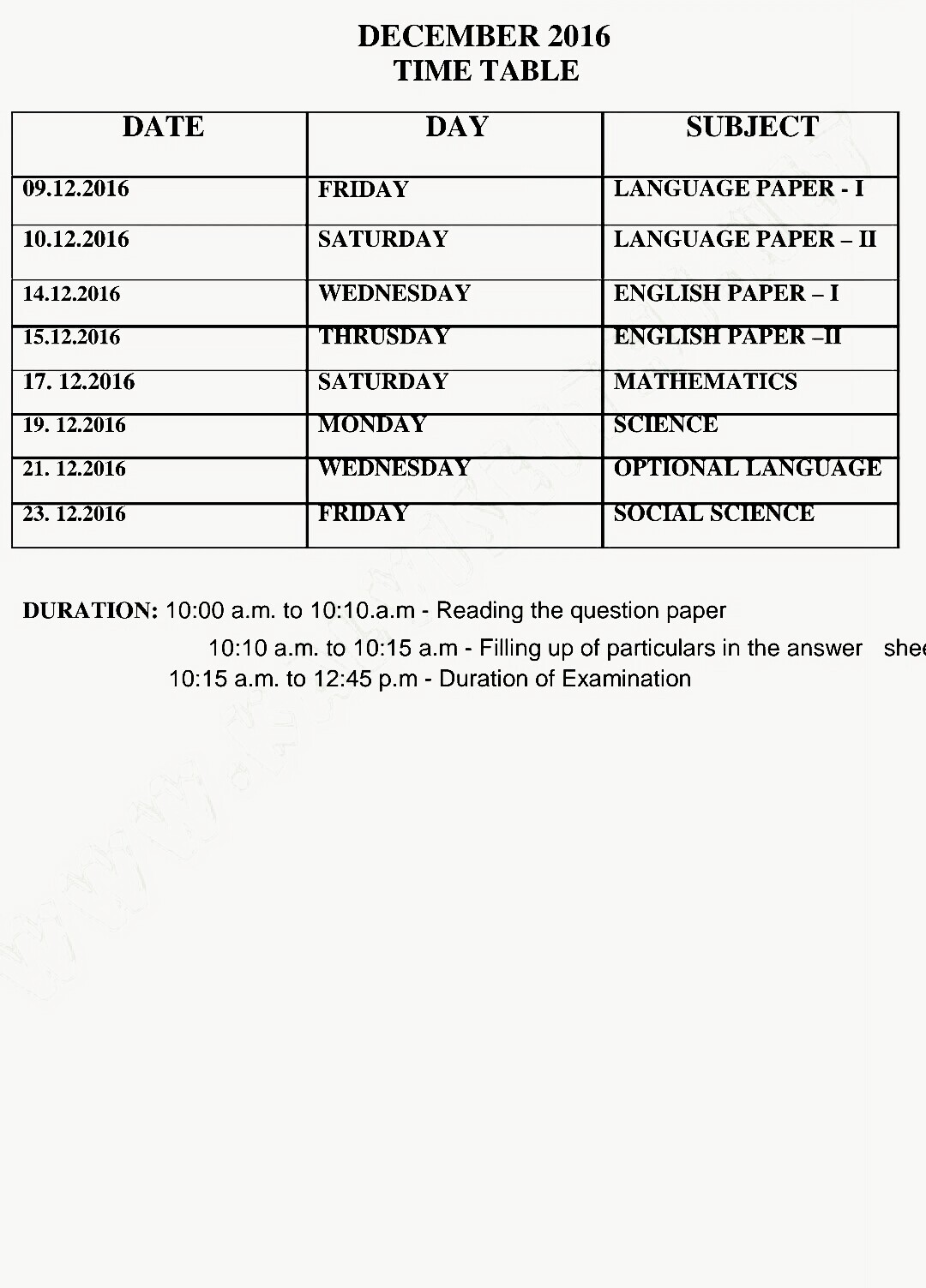 Tamilnadu teachers news 10th half yearly exam time table for 10th time table 2016