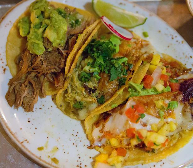 photo of Carnitas, Chicken Verde, and Potato Soy Chorizo tacos