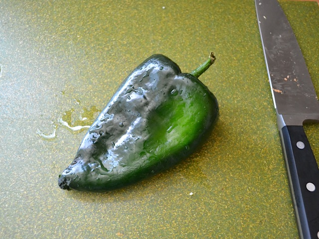 whole poblano pepper ready to chop up