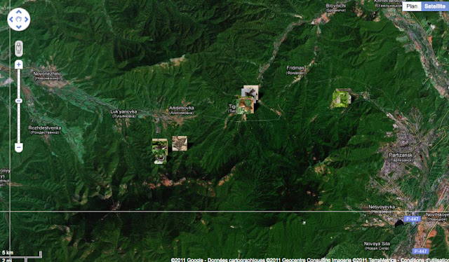 Localisation des photos : (d'ouest en est) Anisimovka, Tigrovoy et Nareshnoe (ou Narichnyi)