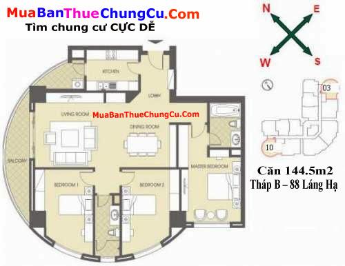 Thiết kế căn hộ 144.5m2 Chung cư 88 Láng Hạ tháp B
