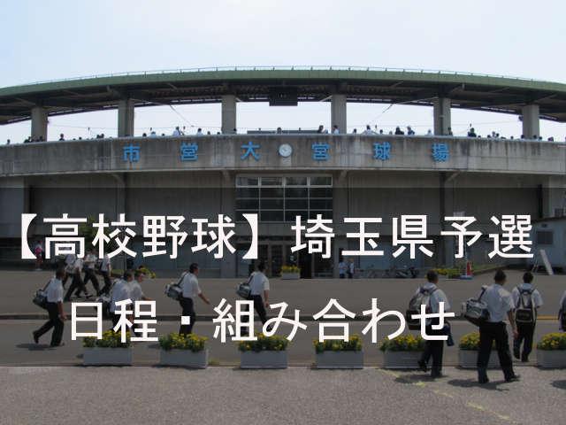 2019年【夏の高校野球・埼玉県予選】日程・組み合わせ
