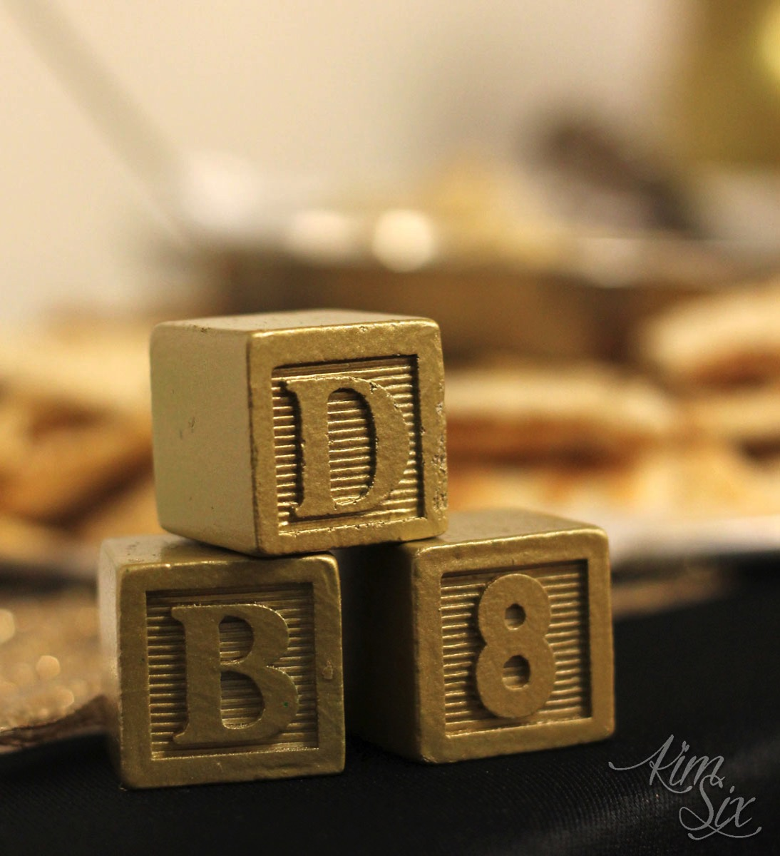Gold baby blocks