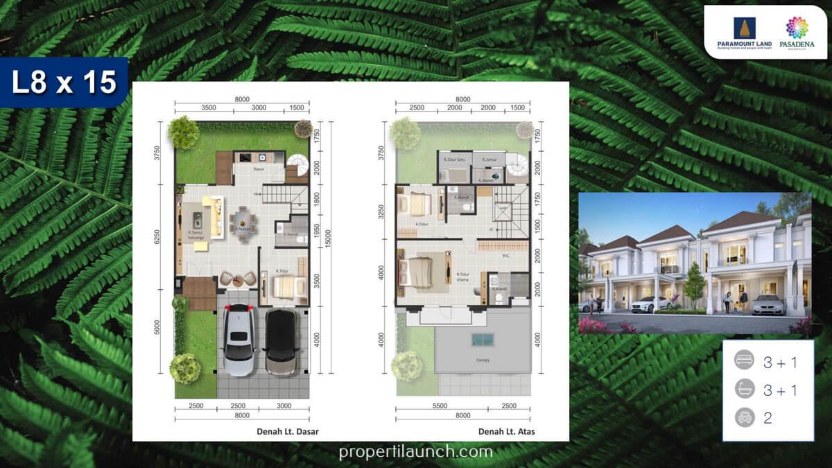 Rumah Pasadena Residence Tipe 8x15 Standard