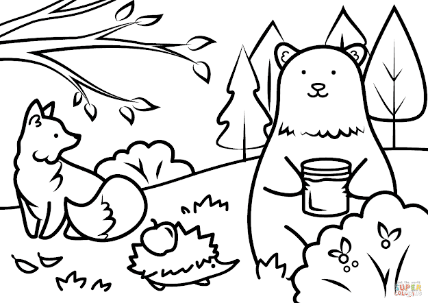 Click The Autumn Animals Coloring Pages