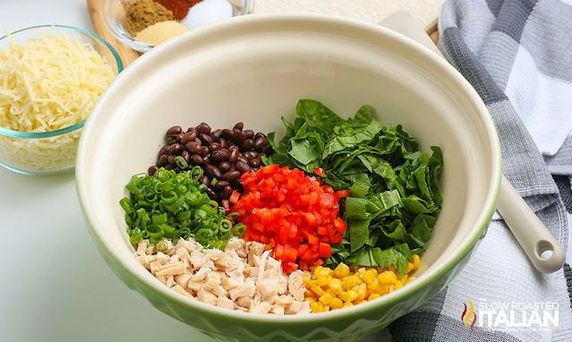 air fryer southwest egg rolls filling ingredients in a bowl