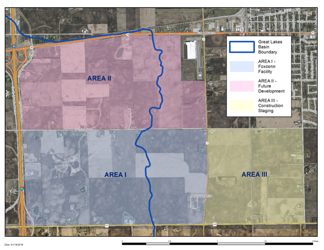 Map dated 18 January 2018 showing the Electronics and Information Technology Manufacturing Zone in southeast Wisconsin. The first phases of the Foxconn project are proposed primarily in the eastern two-thirds of Area 1 in this map. Graphic: Wisconsin DNR