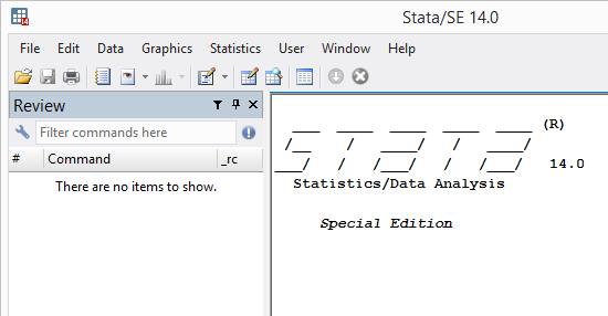 Stata/SE 14.0 program window