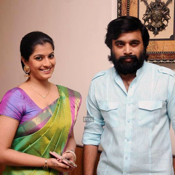Varalakshi Sarathkumar and M Susikumar pose together during the movie pooja of Thaarai Thappattai, held in Chennai.