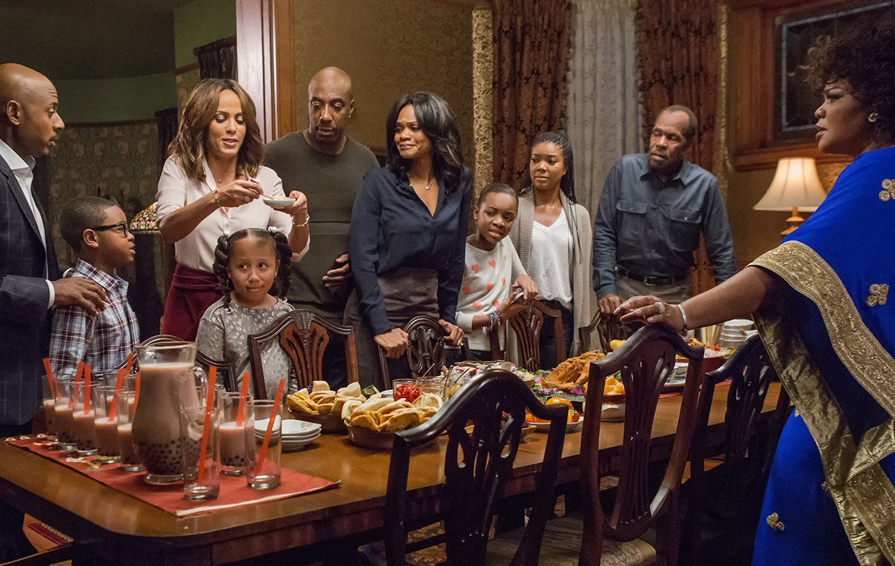 (L to R) Romany Malco, Alkoya Brunson, Nicole Ari Parker, Marley Taylor, JB Smoove, Kimberly Elise, Nadej Bailey, Gabrielle Union, Danny Glover and Mo'Nique in ALMOST CHRISTMAS. (Photo by Quantrell D. Colbert / courtesy of Universal Pictures).