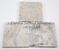 4x4 Silver Travertine Tumbled Tile