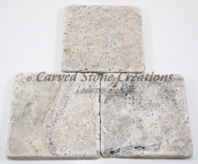 4x4 Silver Travertine Tumbled Tile