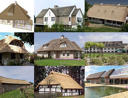 Zbiór zdięć przedstawiających budynki kryte strzechą