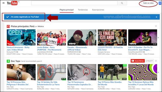 Cuenta de Youtube creada con éxito