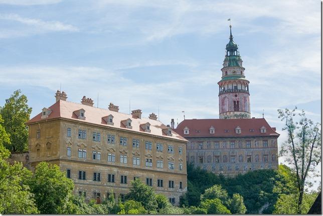 Výhled na českokrumlovský zámek a řeku