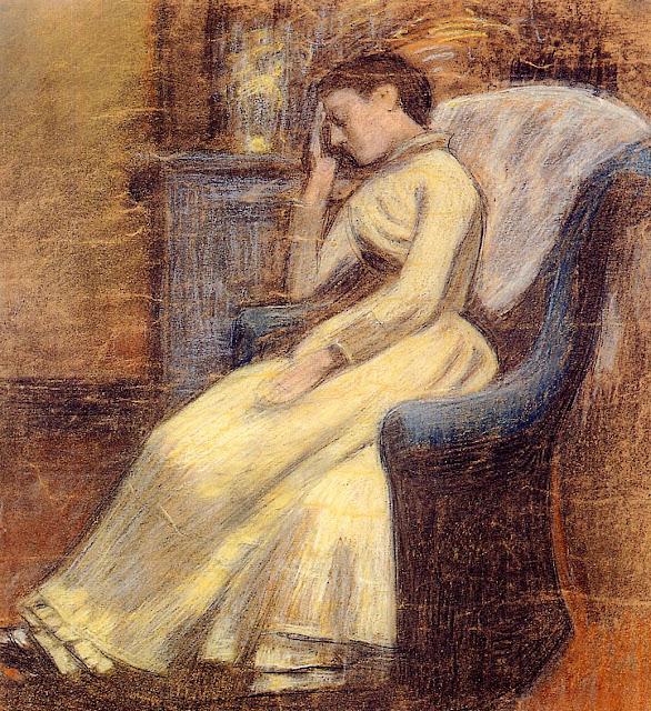 Georges Lemmen - Julie Lemmen Sleeping in an Armchair