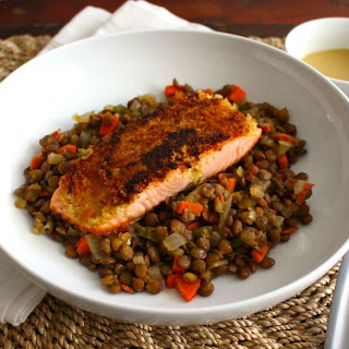 Mustard Crusted Salmon with Lentils