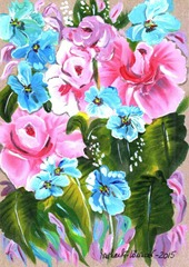 429 Pink Roses And Blue Flowers