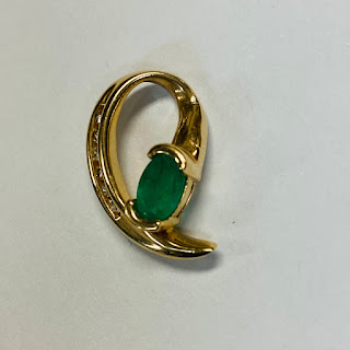14K Gold, Diamond, and Green Stone Pendant