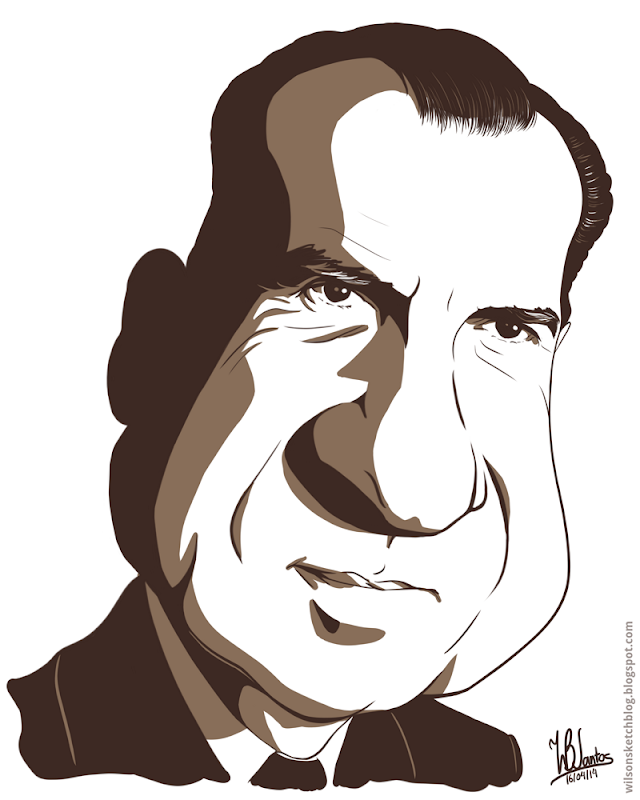 Cartoon caricature of Richard Nixon, using Krita.