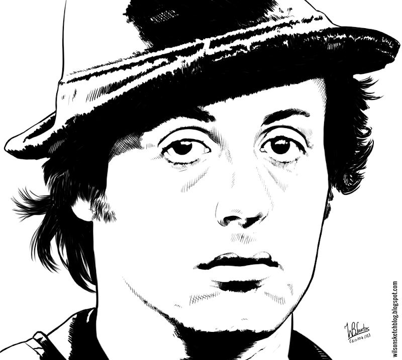 Ink drawing of Rocky, using Krita 2.4.